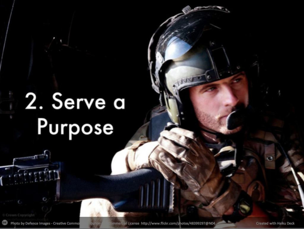 "Photo shows military man ""Serve a Purpose"""
