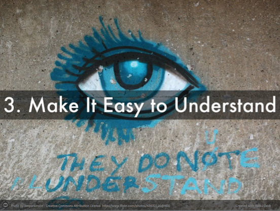 An eye and text: Make content easy to understand