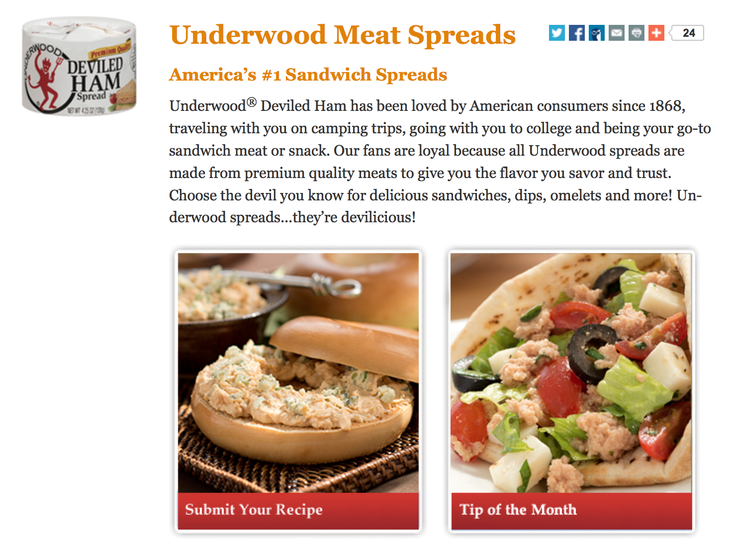 Web writing for Underwood Meat Spreads